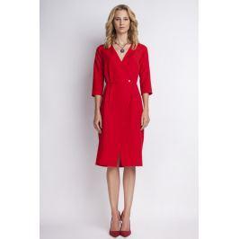 Czerwona Elegancka Sukienka Midi z Kopertowym Dekoltem