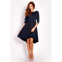 Granatowa Sukienka z Szerokim Asymetrycznym Dołem
