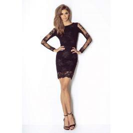 Czarna Koronkowa Wieczorowa Sukienka Ołówkowa