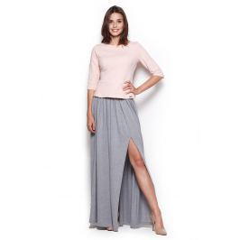 Szara Długa Spódnica Maxi z Rozporkiem Spódnice i spódniczki