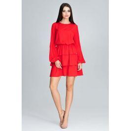 Czerwona Romantyczna Wyjściowa Sukienka z Długimi Bufiastymi Rękawami
