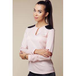Bluzka z Wstawkami z Eko-skóry na Ramionach Bluzki i bluzeczki damskie