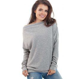 Jasnoszary Nietoperzowy Sweter w Łódkę Sweterki