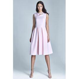 Różowa Wizytowa Midi Sukienka bez Rękawów z Pęknięciem przy Dekolcie