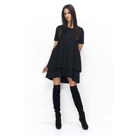 Czarna Sukienka Casual z Falbankami