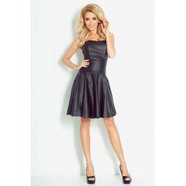 Czarna Sukienka Wieczorowa Gorsetowa z Eco-Skóry