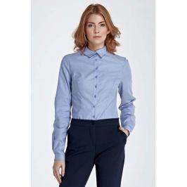 Niebieska Koszula z Efektownym Kołnierzykiem