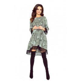Khaki Sukienka Trapezowa Wykończona Koronką Sukienki i suknie