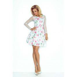 Sukienka Wizytowa Rozkloszowana z Transparentnymi Rękawami - Różowe Kwiaty
