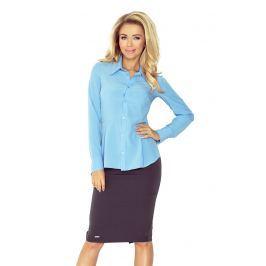Błękitna Elegancka Koszula z Baskinką