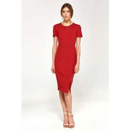Ołówkowa Sukienka z Krótkim Rękawem- Czerwona
