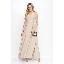 Beżowa Sukienka Długa Rozkloszowana na Szerokich Ramiączkach