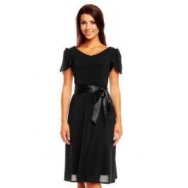 Czarna Zwiewna Szyfonowa Sukienka z Wiązanym Paskiem