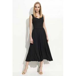 Czarna Sukienka Midi na Ramiączkach z Szerokim Dołem