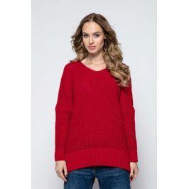 Czerwona Oversizowy Sweter z Dekoltem V