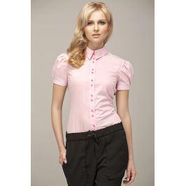 Różowa Koszulowa Bluzka z Kontrastowymi Guzikami
