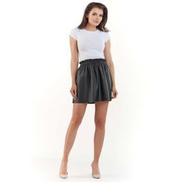 Marszczona Mini Spódnica z Eko-skóry na Gumce - Czarna