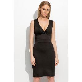 Czarna Dopasowana Sukienka z Zakładanym Przodem