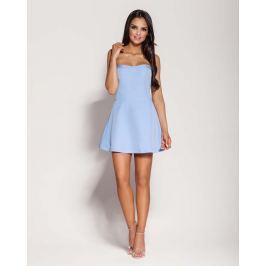 Niebieska Mini Sukienka z Odkrytymi Ramionami