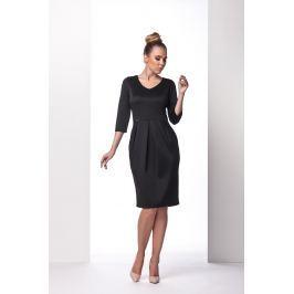 Czarna Sukienka Bombka z Długim Rękawem