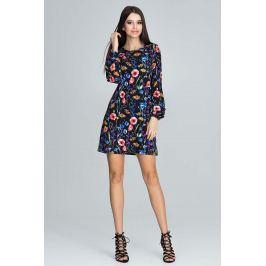 Casualowa Sukienka z Bufiastym Rękawem z Barwnym Wzorem  - Wzór 77