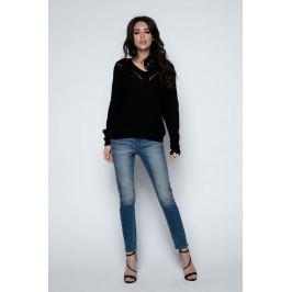 Czarny Sweter Krótki Oversizowy z Dekoltem V