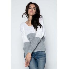 Szary Sweter Dwubarwny Krótki z Dekoltem w Szpic
