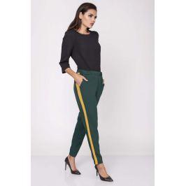 Zielone Wygodne Spodnie na Gumie z Lampasami