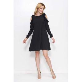Czarna Sukienka o Kształcie Litery A z Wiązanymi Rękawami