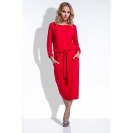 Midi Czerwona Sukienka w Stylu Casual z Podpinanymi Rękawami