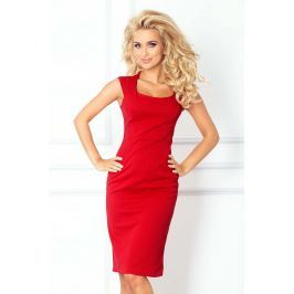 Czerwona Ołówkowa Sukienka z Mini Rękawkiem