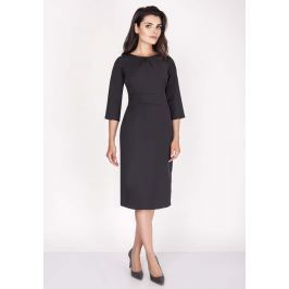 Czarna Sukienka Midi z Rękawem za Łokieć