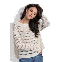 Ecru Krótki Ażurowy Sweter w Łódkę