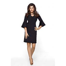 Czarna Sukienka z Rozszerzanym Rękawem