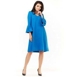 Niebieska Sukienka Wizytowa o Luźnym Kroju z Falbankami przy Rękawach