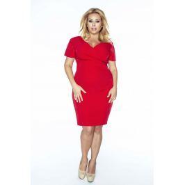 Czerwona Sukienka Dopasowana z Kopertowym Dekoltem Plus Size