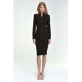 Czarna Sukienka Midi z Rozcięciem przy Dekolcie