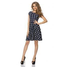 Sukienka Wzorzysta Rozkloszowana z Mini Rękawkiem Wzór - Wafelek