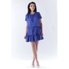Niebieska Mini Sukienka w Stylu Boho z Krótkim Rękawem