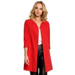 Czerwony Elegancki Długi Żakiet bez Zapięcia