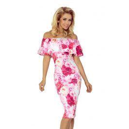 Sukienka  w Róże Ołówkowa z Hiszpańskim Dekoltem