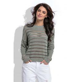 Oliwkowy Krótki Ażurowy Sweter w Łódkę