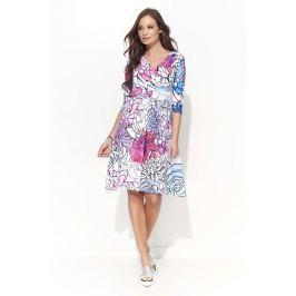 Wizytowa Sukienka w Kwiatowy Wzór z Kopertowym Dekoltem - Wzór 2