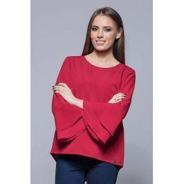 Czerwona Elegancka Asymetryczna Bluzka z Hiszpańskim Rękawem
