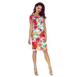 Wyjściowa Sukienka Ołówkowa z Nadrukiem w Czerwone Kwiaty