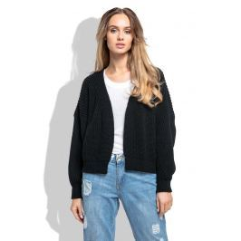 Czarny Krótki Sweter bez Zapięcia z Grubszym Splotem