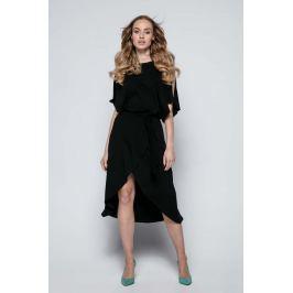 Czarna Sukienka Koktajlowa z Rozciętymi Rękawami