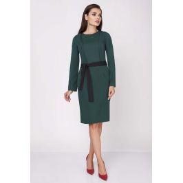 Zielona Ołówkowa Wyjściowa Sukienka z Wiązanym Paskiem