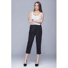 Czarne Eleganckie Garniturowe Spodnie 3/4 w Kant