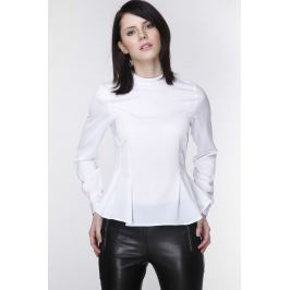 Biała Elegancka Bluzka z Długim Rękawem z Baskinką
